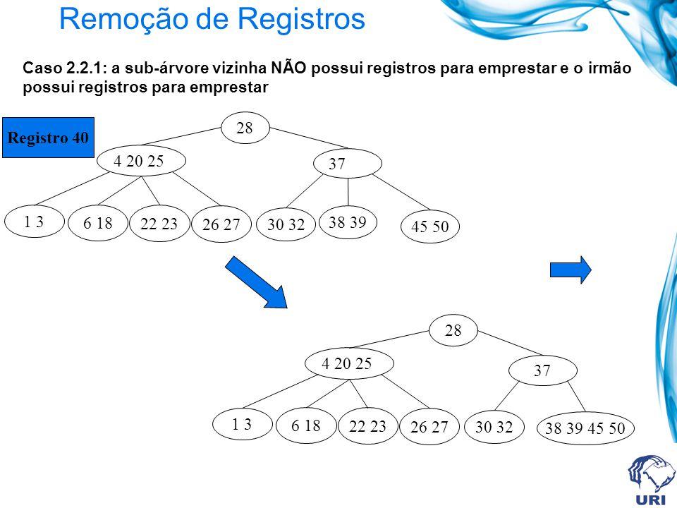 Remoção de Registros Caso 2.2.1: a sub-árvore vizinha NÃO possui registros para emprestar e o irmão possui registros para emprestar.