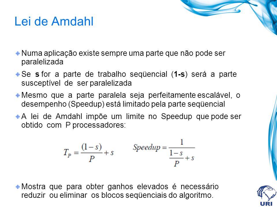 Lei de Amdahl Numa aplicação existe sempre uma parte que não pode ser paralelizada.