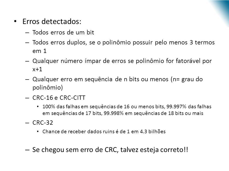 Erros detectados: Se chegou sem erro de CRC, talvez esteja correto!!