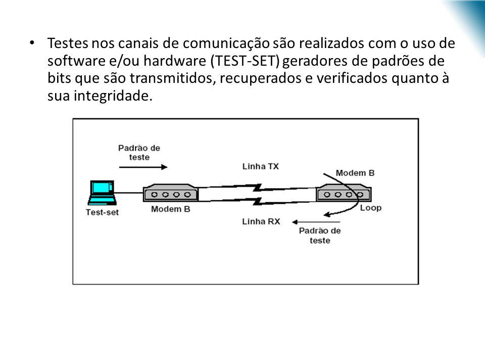 Testes nos canais de comunicação são realizados com o uso de software e/ou hardware (TEST-SET) geradores de padrões de bits que são transmitidos, recuperados e verificados quanto à sua integridade.
