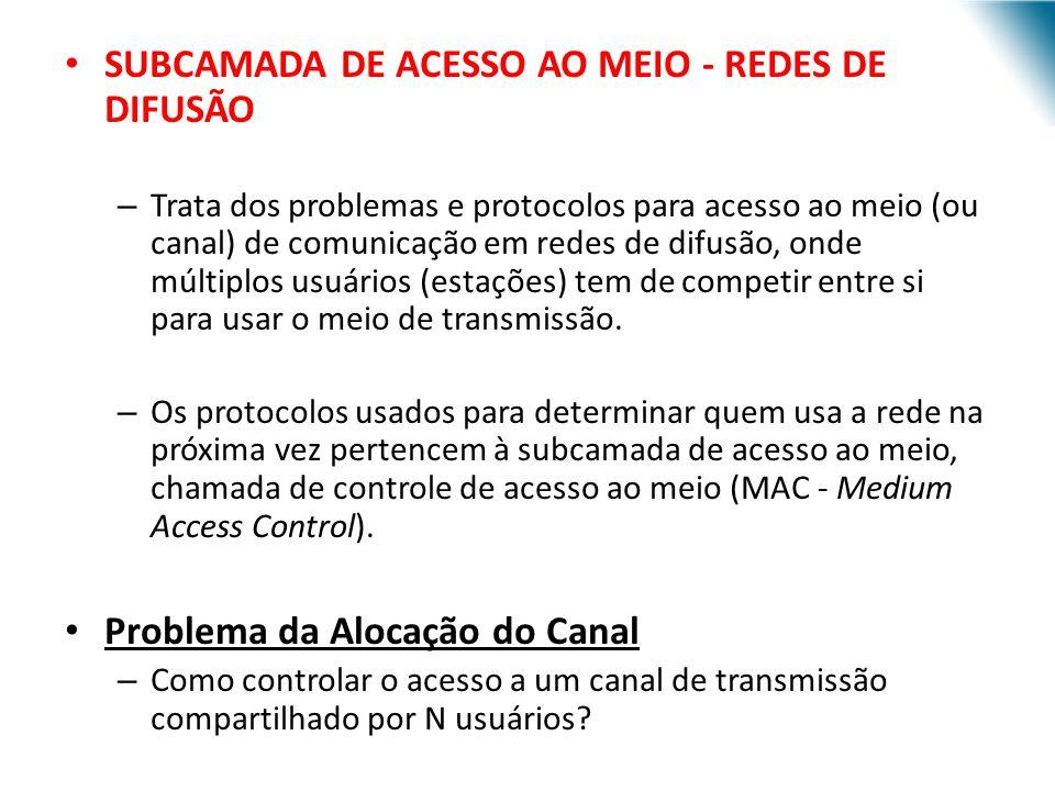 SUBCAMADA DE ACESSO AO MEIO - REDES DE DIFUSÃO