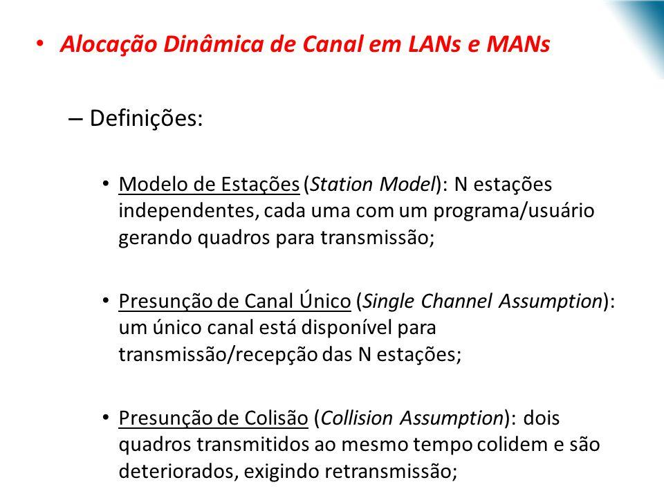 Alocação Dinâmica de Canal em LANs e MANs Definições: