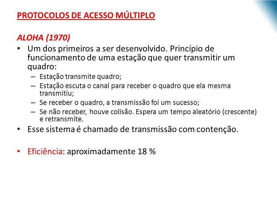 PROTOCOLOS DE ACESSO MÚLTIPLO ALOHA (1970)