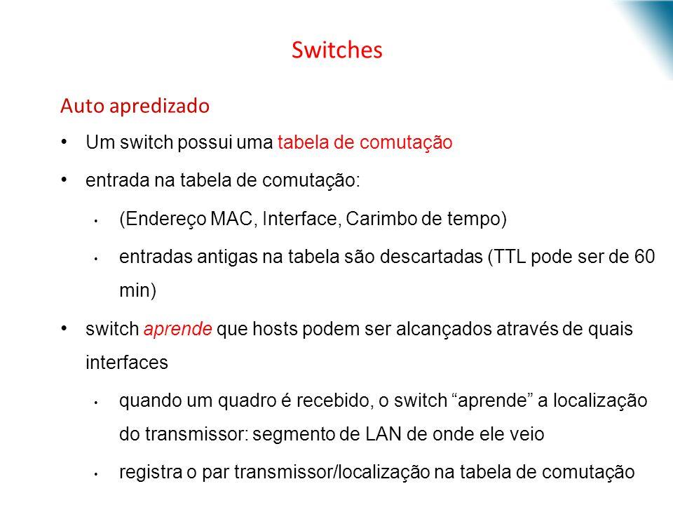 Switches Auto apredizado Um switch possui uma tabela de comutação