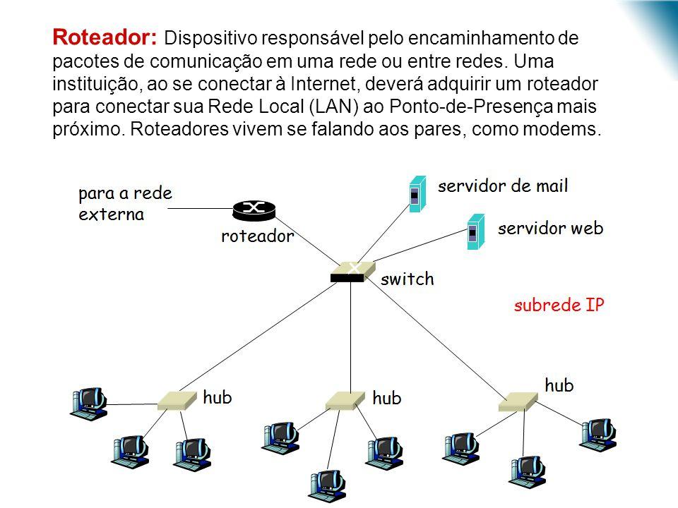 Roteador: Dispositivo responsável pelo encaminhamento de pacotes de comunicação em uma rede ou entre redes.