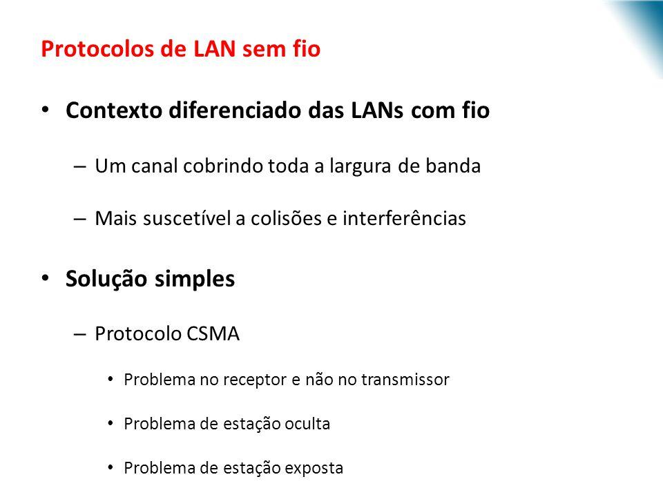 Protocolos de LAN sem fio Contexto diferenciado das LANs com fio