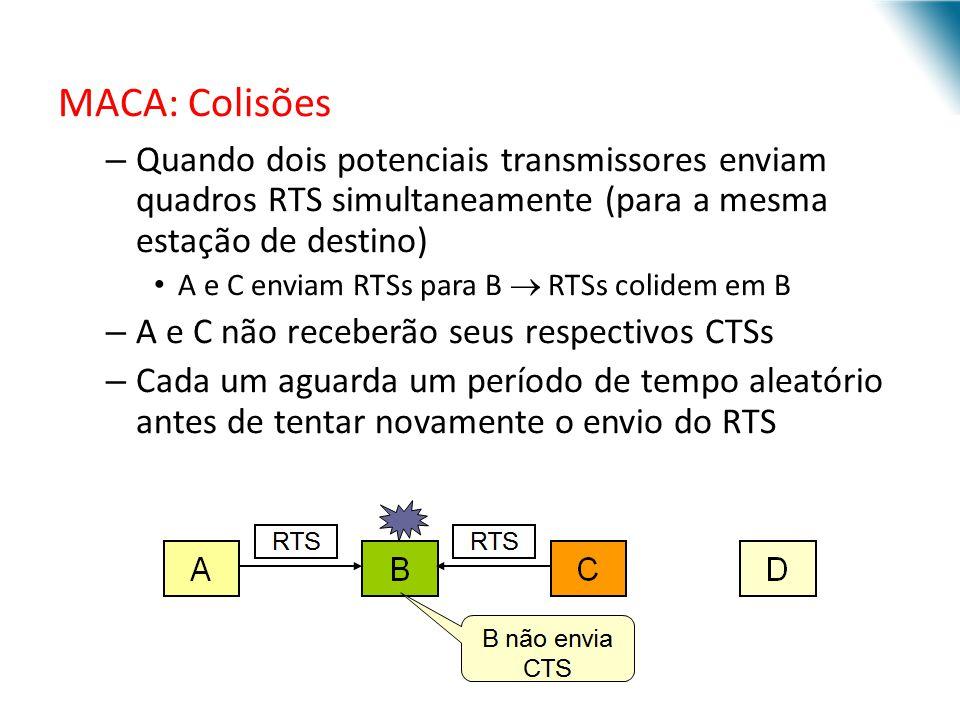 MACA: Colisões Quando dois potenciais transmissores enviam quadros RTS simultaneamente (para a mesma estação de destino)
