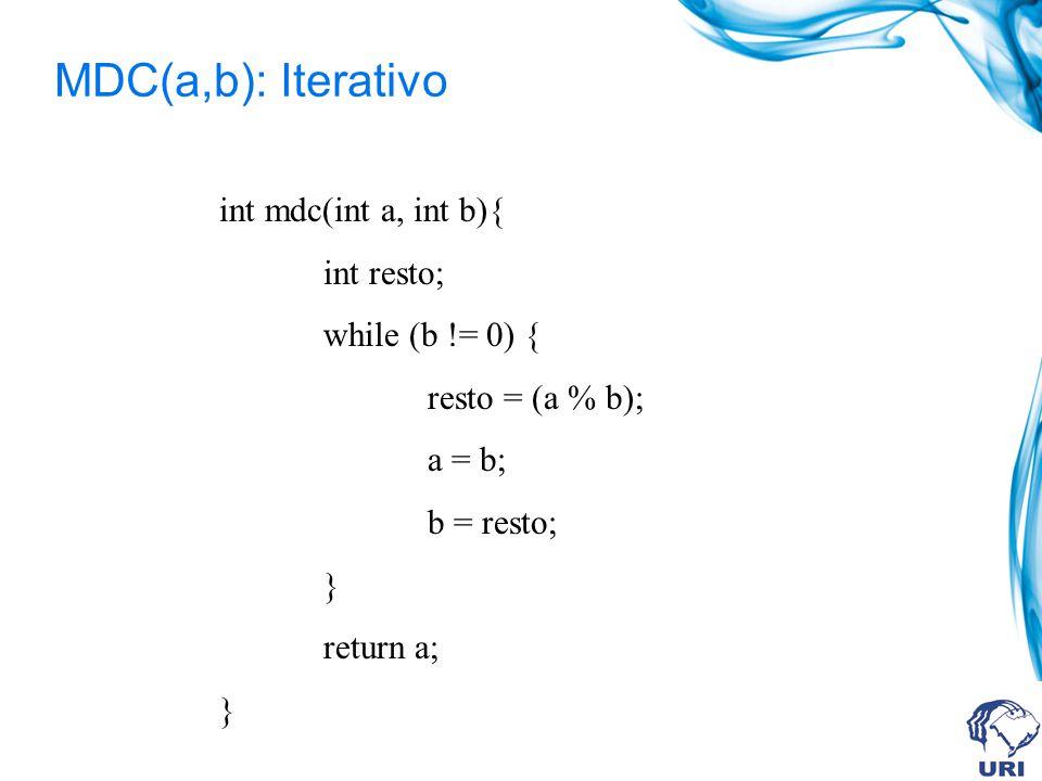 MDC(a,b): Iterativo int mdc(int a, int b){ int resto; while (b != 0) {