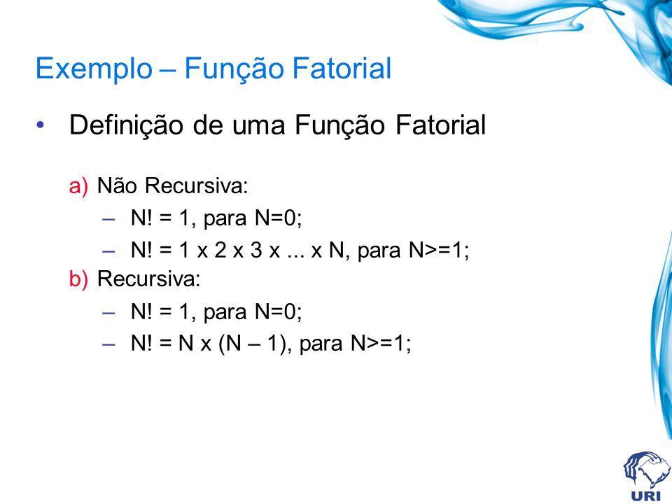 Exemplo – Função Fatorial