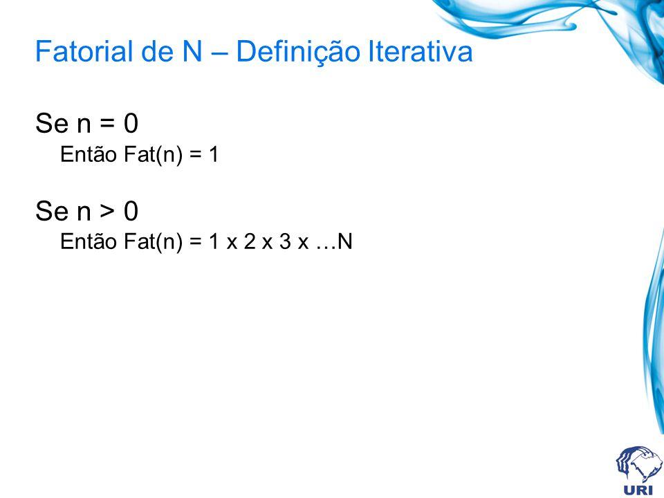 Fatorial de N – Definição Iterativa