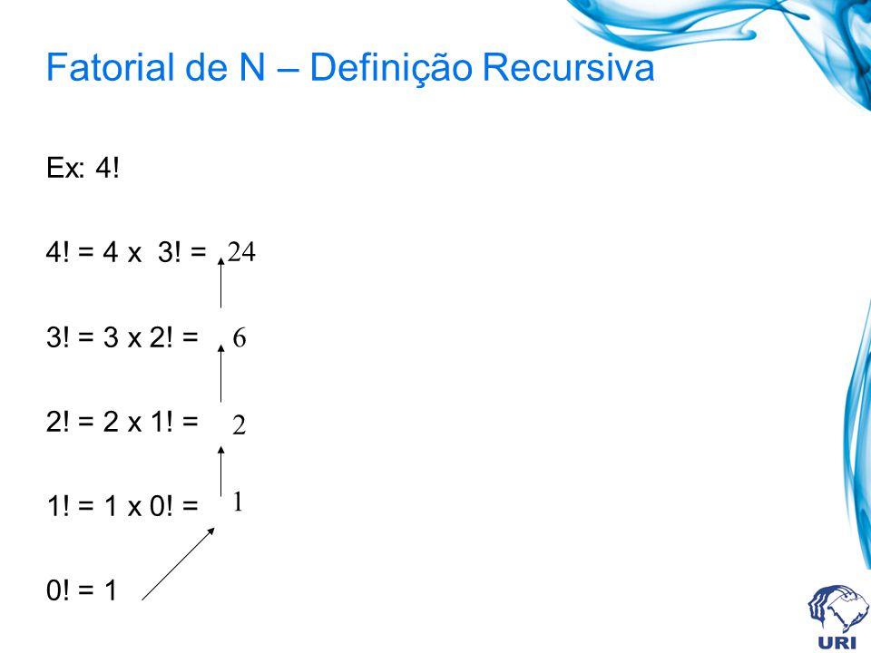 Fatorial de N – Definição Recursiva