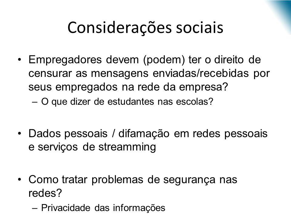 Considerações sociais