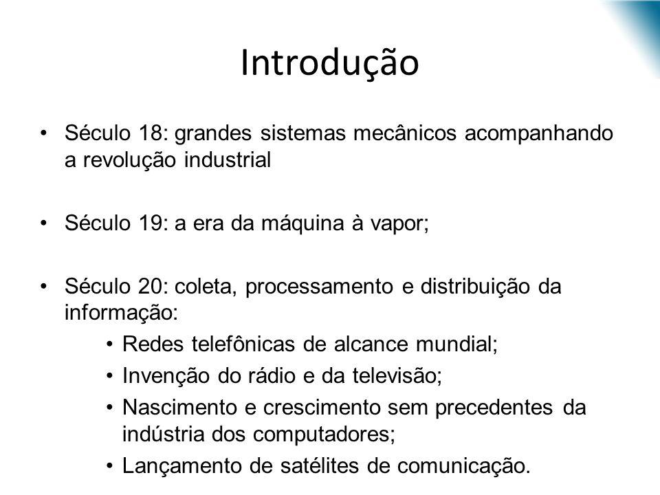 Introdução Século 18: grandes sistemas mecânicos acompanhando a revolução industrial. Século 19: a era da máquina à vapor;