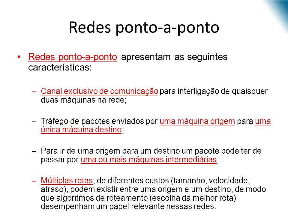 Redes ponto-a-ponto Redes ponto-a-ponto apresentam as seguintes características: