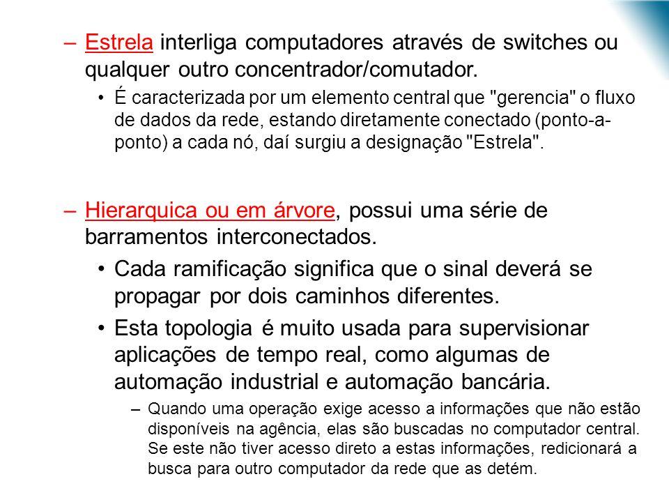 Estrela interliga computadores através de switches ou qualquer outro concentrador/comutador.
