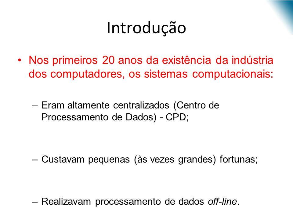 Introdução Nos primeiros 20 anos da existência da indústria dos computadores, os sistemas computacionais: