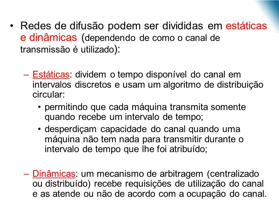 Redes de difusão podem ser divididas em estáticas e dinâmicas (dependendo de como o canal de transmissão é utilizado):