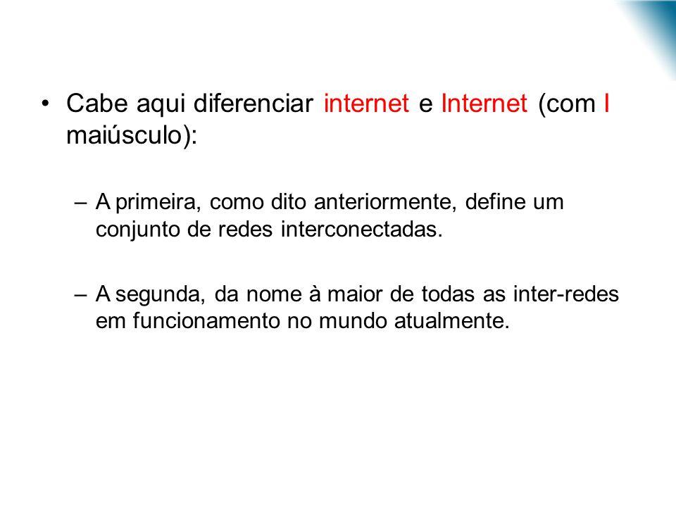 Cabe aqui diferenciar internet e Internet (com I maiúsculo):