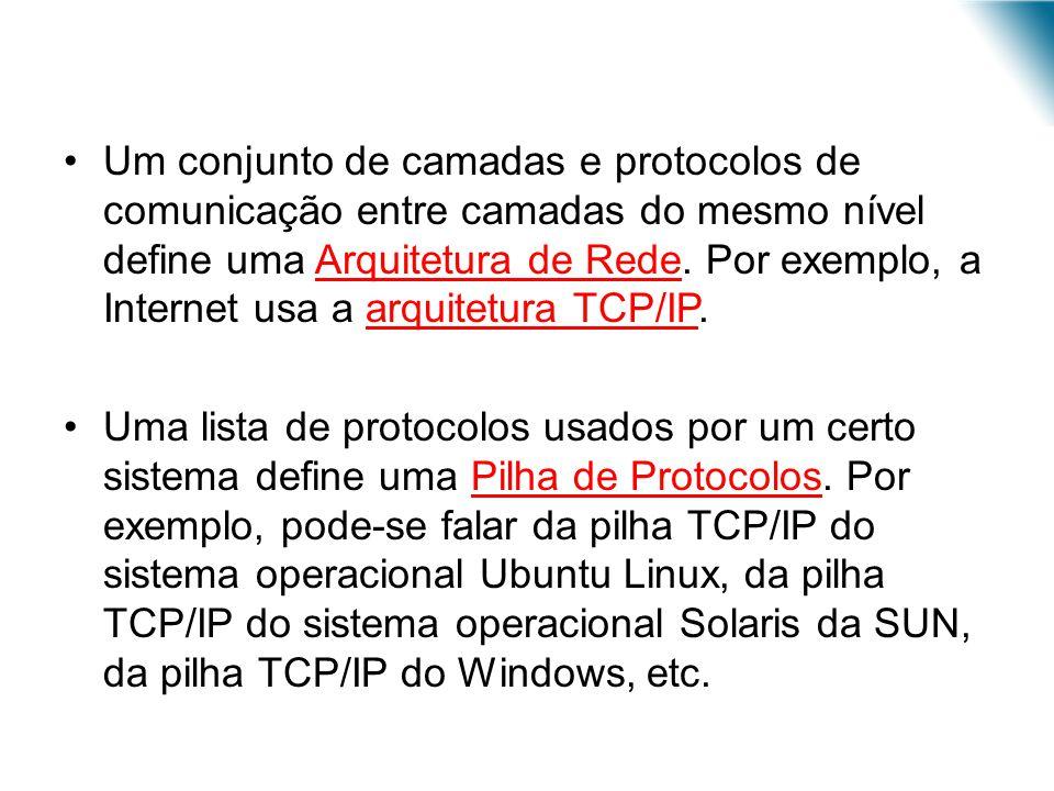 Um conjunto de camadas e protocolos de comunicação entre camadas do mesmo nível define uma Arquitetura de Rede. Por exemplo, a Internet usa a arquitetura TCP/IP.