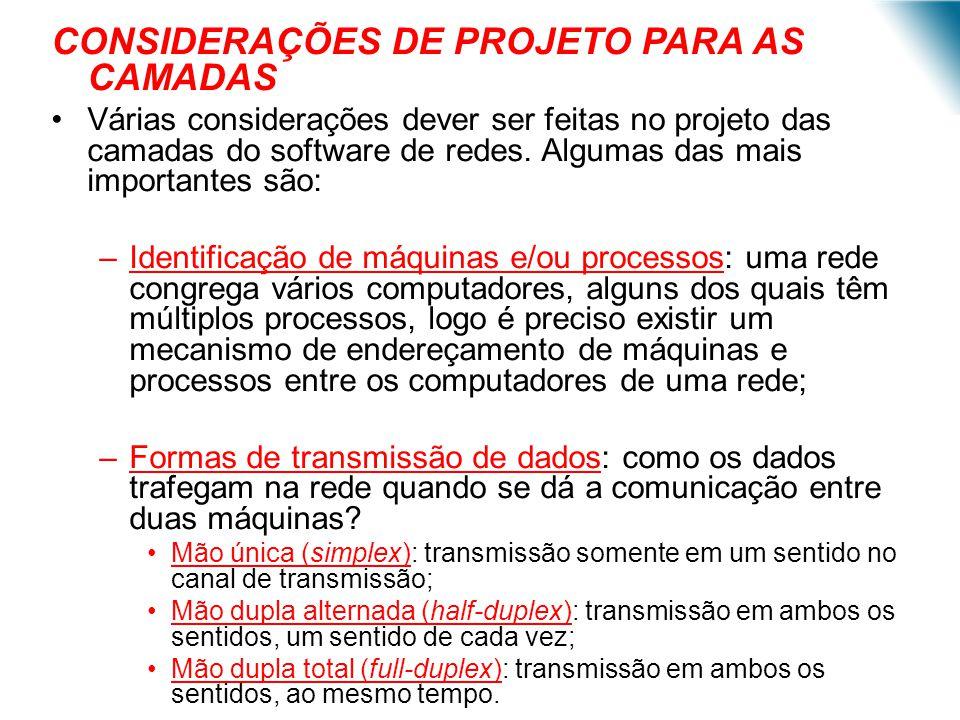 CONSIDERAÇÕES DE PROJETO PARA AS CAMADAS