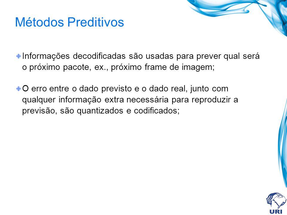 Métodos Preditivos Informações decodificadas são usadas para prever qual será o próximo pacote, ex., próximo frame de imagem;