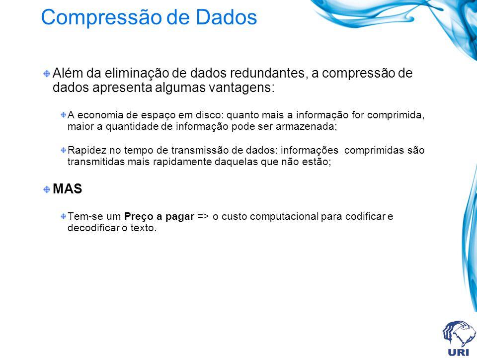 Compressão de Dados Além da eliminação de dados redundantes, a compressão de dados apresenta algumas vantagens: