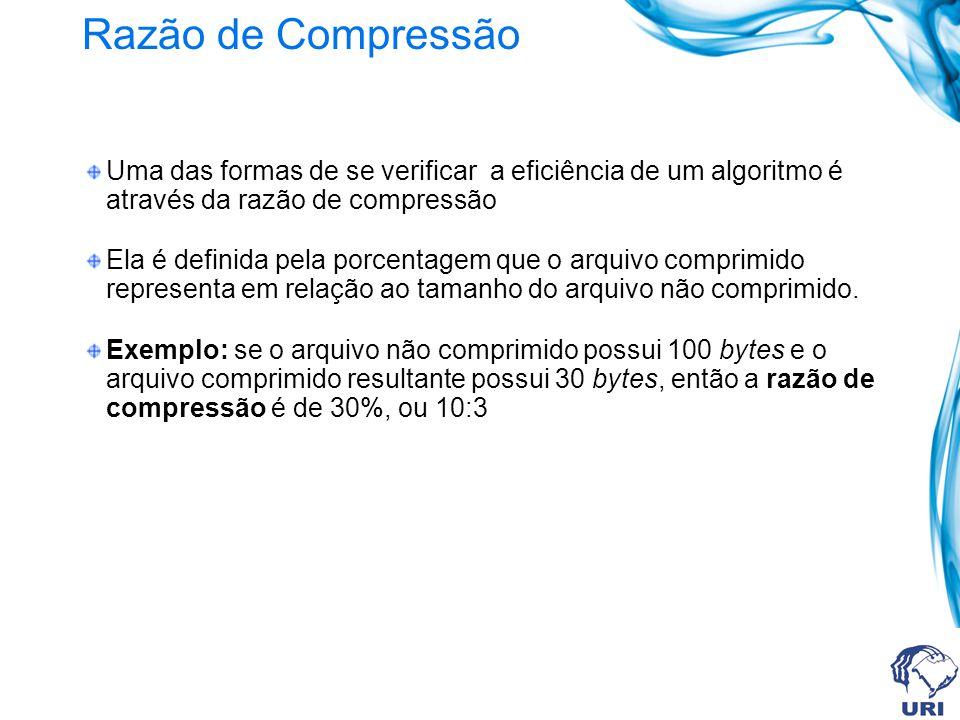 Razão de Compressão Uma das formas de se verificar a eficiência de um algoritmo é através da razão de compressão.