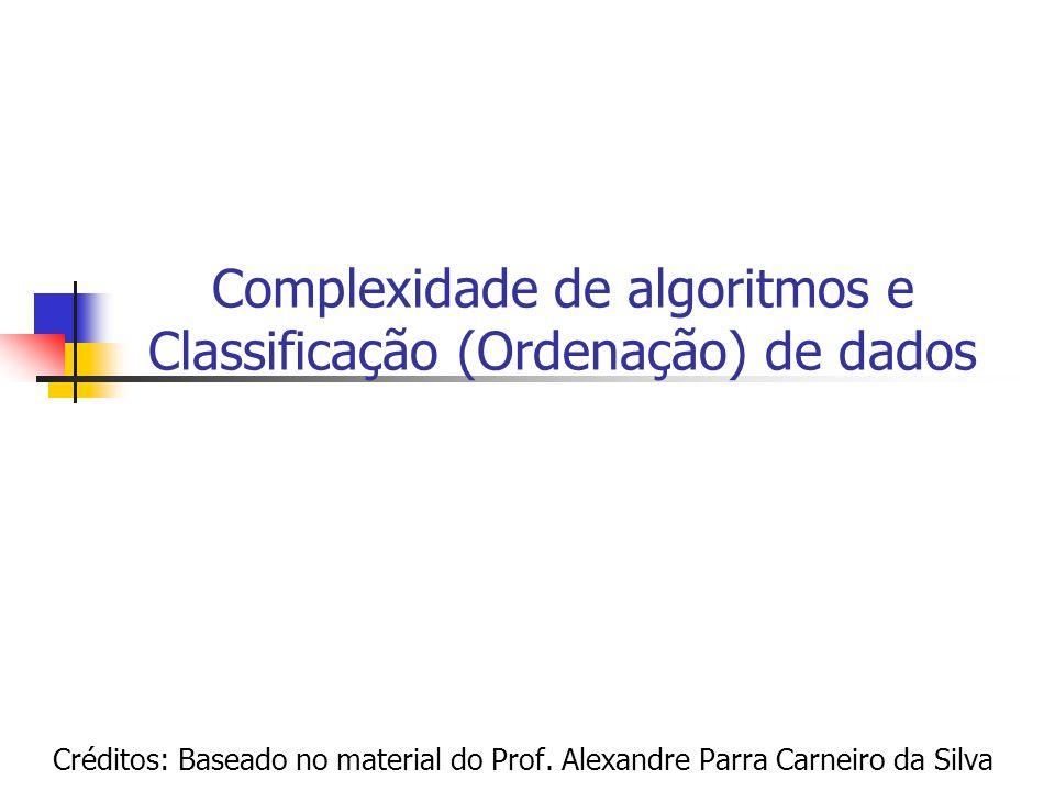 Complexidade de algoritmos e Classificação (Ordenação) de dados
