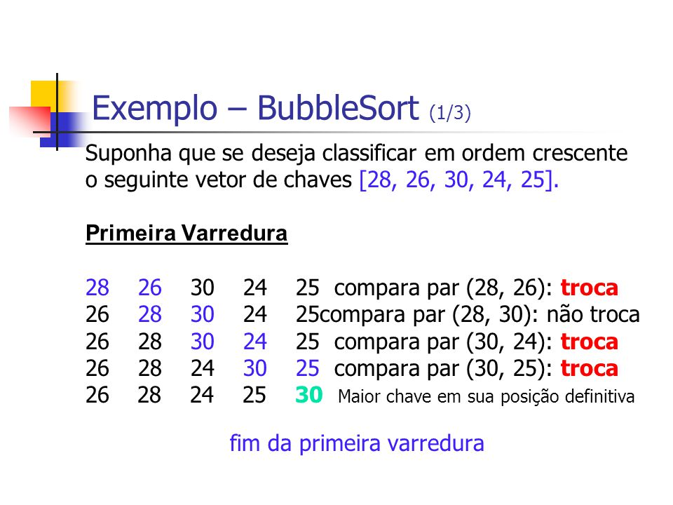 Exemplo – BubbleSort (1/3)