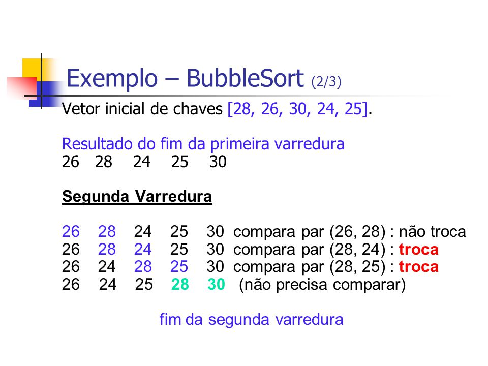 Exemplo – BubbleSort (2/3)
