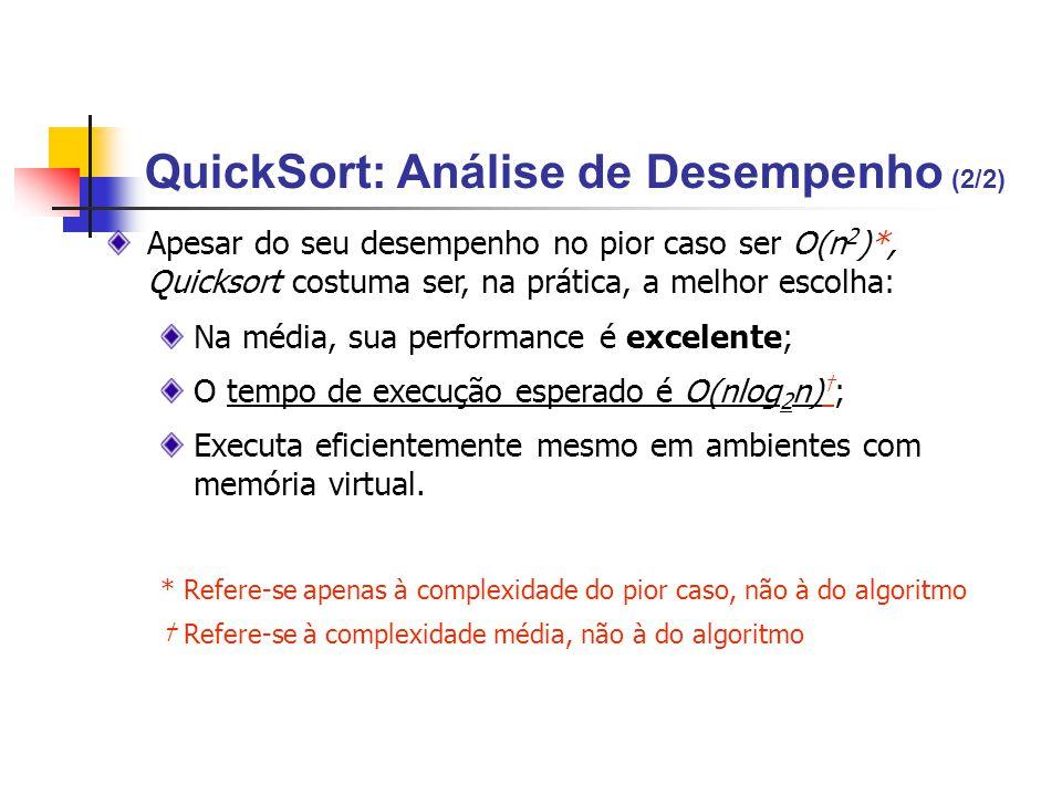 QuickSort: Análise de Desempenho (2/2)
