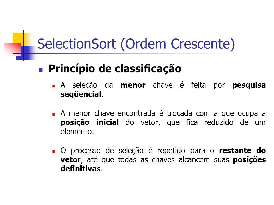 SelectionSort (Ordem Crescente)