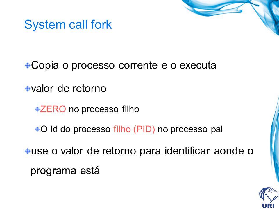 System call fork Copia o processo corrente e o executa