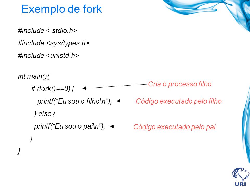 Exemplo de fork #include < stdio.h> #include <sys/types.h>
