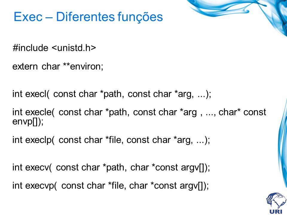 Exec – Diferentes funções