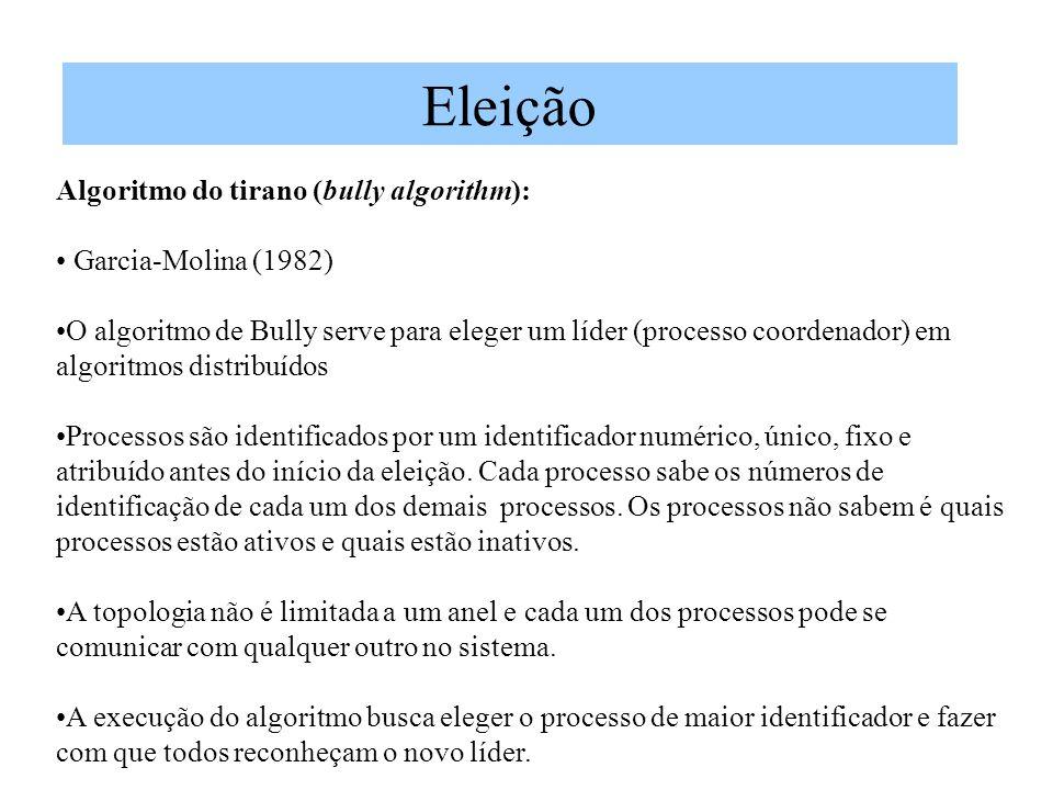 Eleição Algoritmo do tirano (bully algorithm): Garcia-Molina (1982)