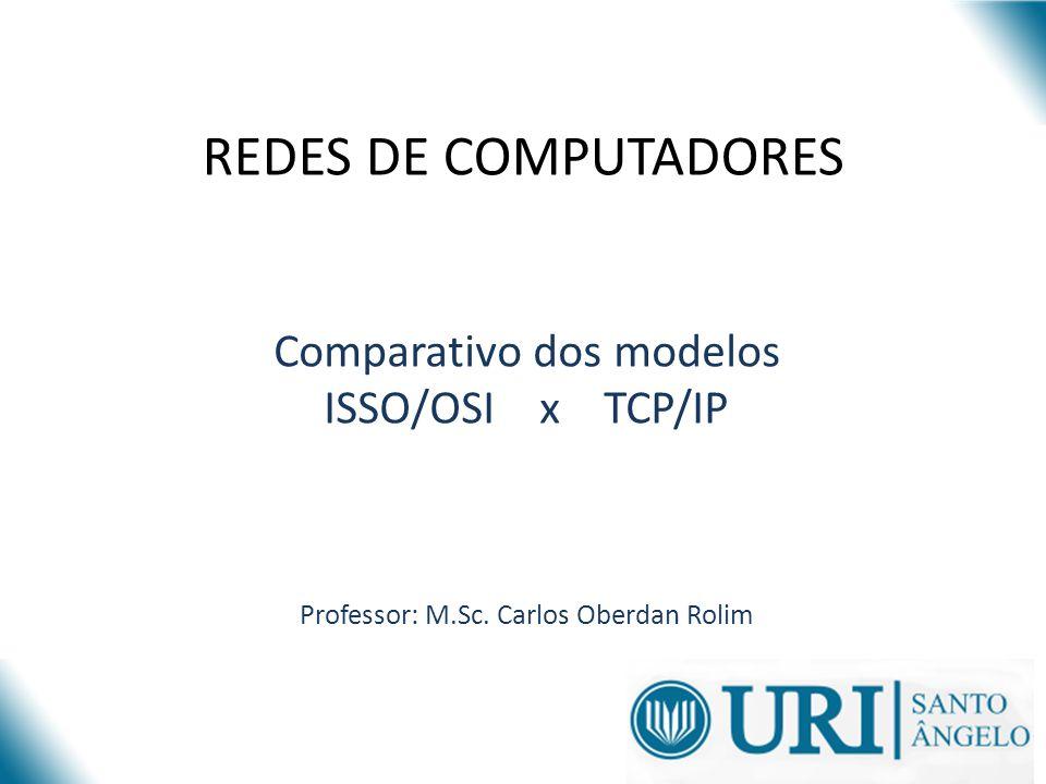 REDES DE COMPUTADORES Comparativo dos modelos ISSO/OSI x TCP/IP