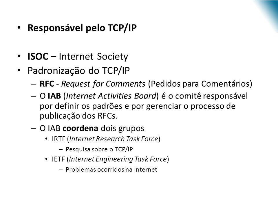 Responsável pelo TCP/IP ISOC – Internet Society Padronização do TCP/IP