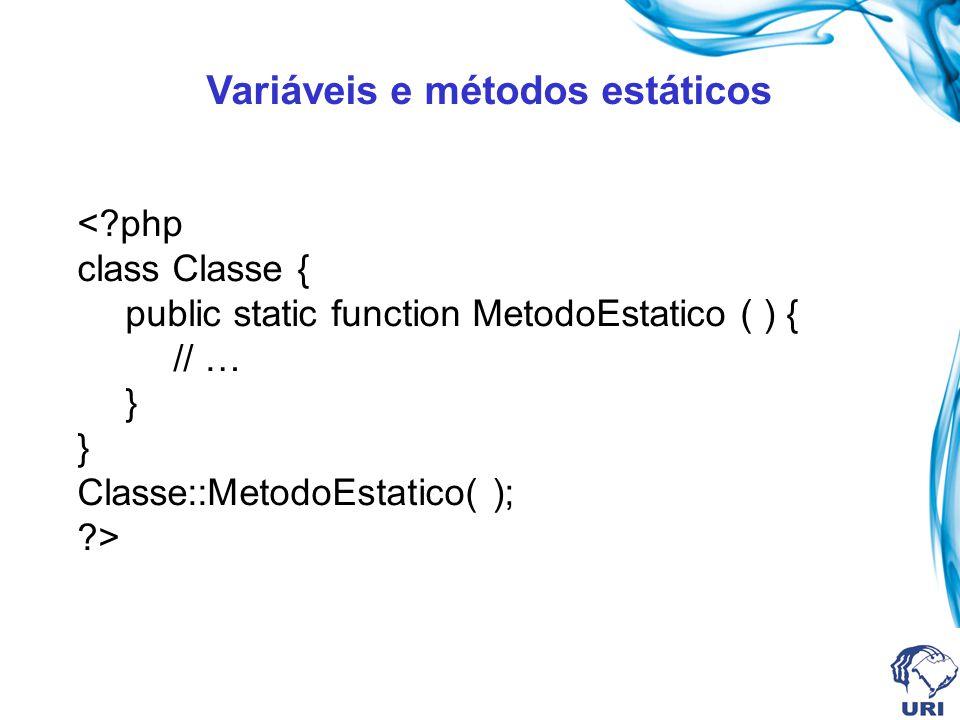 Variáveis e métodos estáticos