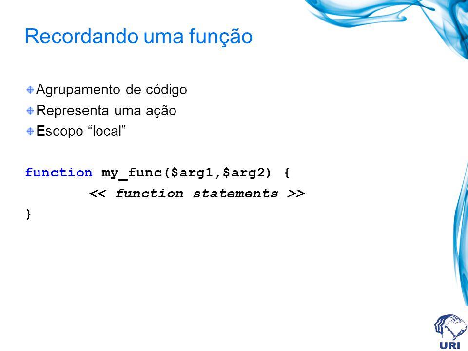 Recordando uma função Agrupamento de código Representa uma ação