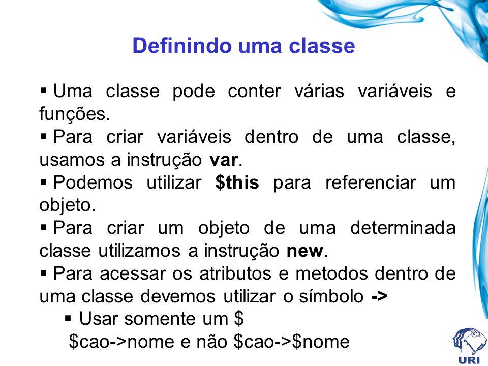 Definindo uma classe Uma classe pode conter várias variáveis e funções. Para criar variáveis dentro de uma classe, usamos a instrução var.