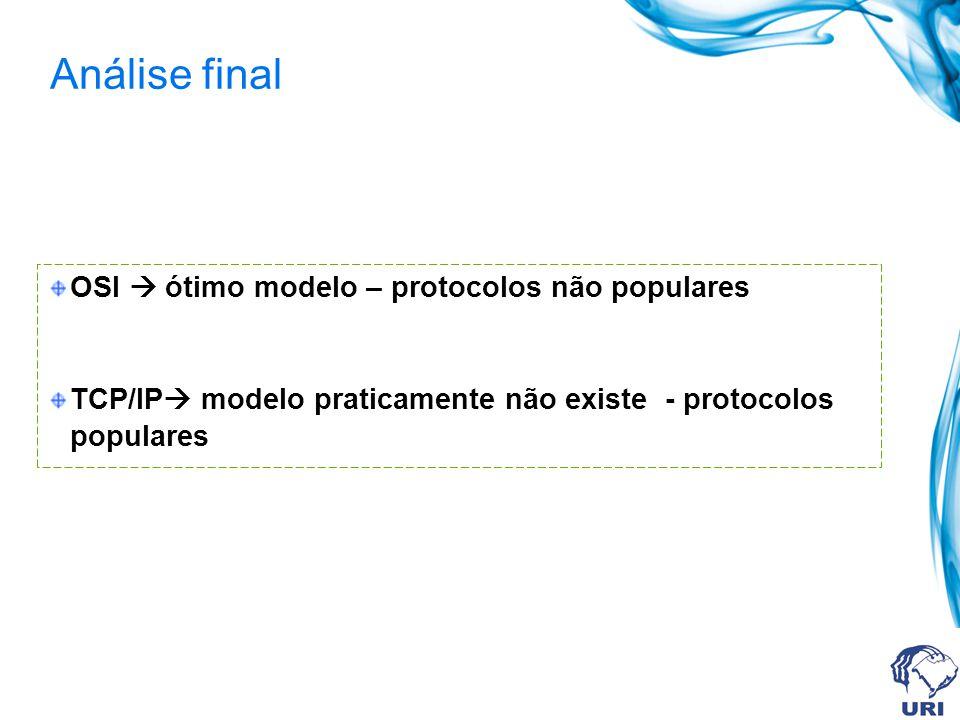 Análise final OSI  ótimo modelo – protocolos não populares