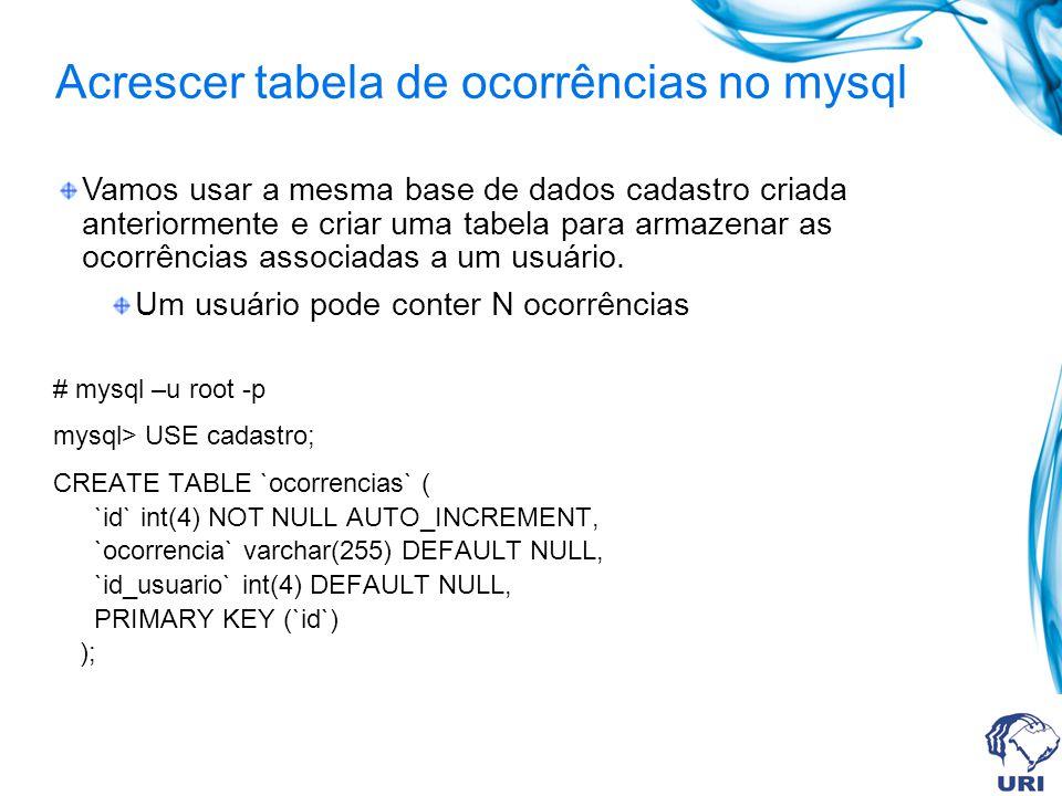 Acrescer tabela de ocorrências no mysql