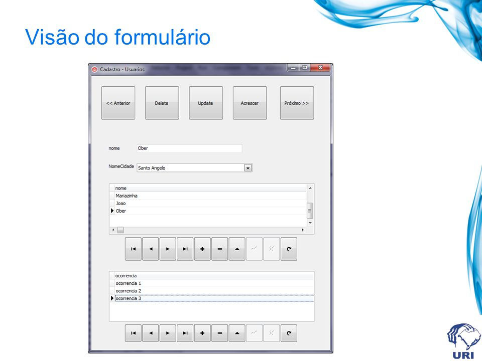 Visão do formulário