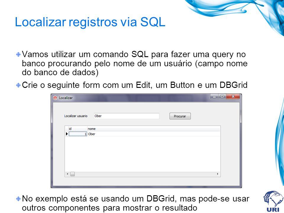 Localizar registros via SQL