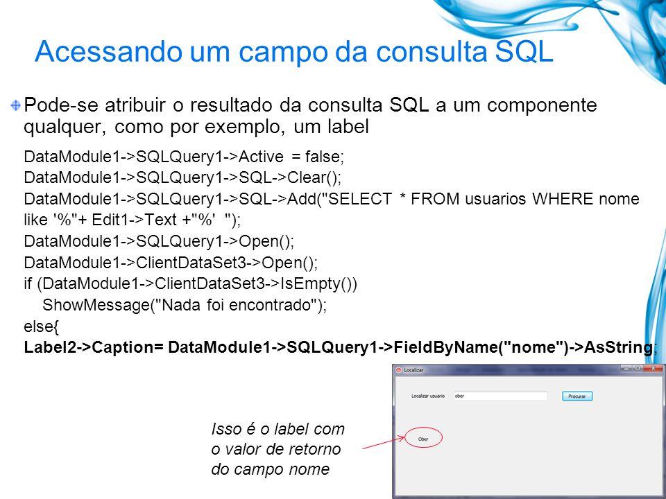 Acessando um campo da consulta SQL