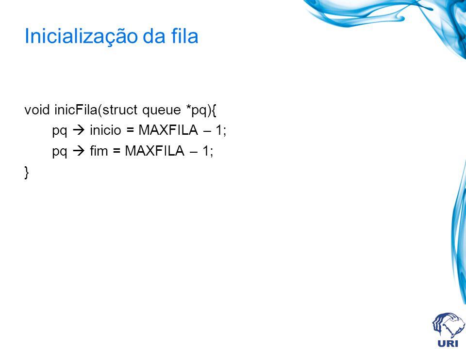 Inicialização da fila void inicFila(struct queue *pq){