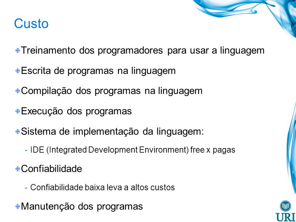Custo Treinamento dos programadores para usar a linguagem
