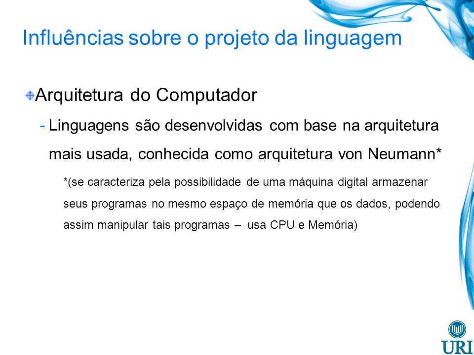 Influências sobre o projeto da linguagem