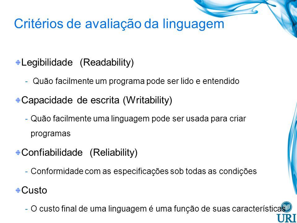 Critérios de avaliação da linguagem